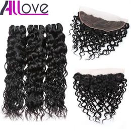 Cheap weave laCe Closure online shopping - Cheap A Brazilian Hair Wefts Water Wave Hair Bundles With Lace Frontal Closure Bundles With x4 Ear to Ear Lace Frontal Closure