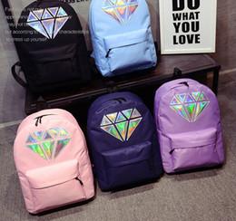 plain white backpacks 2019 - 5styles Women Laser Diamond Printed Canvas backpack Holographic Shoulder Zipper School Bag travel outdoor simple school