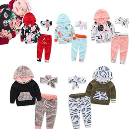 Discount baby girl white tops - Toddler Baby Girl Boy Long Sleeve Floral Tops Hoodies +Long Pants Outfits 2018 Autumn Unisex Clothing Sets LC911