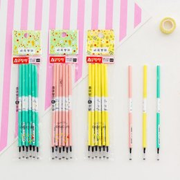 $enCountryForm.capitalKeyWord NZ - 18 Pcs set Kawaii 0.5mm Candy Color Flower Plastic Black Inked Gel Pen Refills for Writing Leads Stationery School Supplies