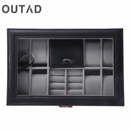 Luxury Display Cases Canada - OUTAD 2 In 1 8+3 Mixed Grids Leather Watch Case Storage Organizer Box Luxury Jewelry Display Watches Boxes Winder Holder 2017