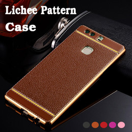 mate plate NZ - Lichee Pattern Soft TPU Rubber Electroplating Plating PU Leather Ultra Slim Bacl Cover Case For Huawei P20 Pro P10 Plus P9 Lite Mate 20 10