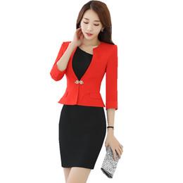 d5e12d90a5be9 2018 Women Business Suit Elegant Office 2 Pieces Set 3 4 Sleeve Blazer and  Short Sleeve Dress Ladies Suit Set HR-1720