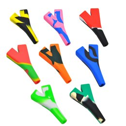 Cigarette Filters Wholesalers Australia - Silicone Smoking Pipe Tobacco Silicone Bongs Pipes Filter Mouth Tips Double Cones Cigarette Holder Oil Dab Rigs Tobacco Silicone Water Pipes