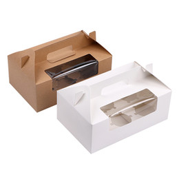 $enCountryForm.capitalKeyWord Canada - Brown White 6 Cupcake box Kraft paper cake boxes and packaging with handle Wedding gift box Packaging box With windows LX0752