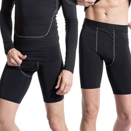 Black Compression Shorts Australia - Mens Compression Tights Male Shorts Quick Dry Elastic Bodybuilding Crossfit Sweat Shorts Slim Fitness Men Causal Short Pants