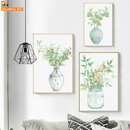 Wall Pictures Living Room NZ - COLORFULBOY Bottle Flower Watercolor Nordic Posters And Prints Wall Art Canvas Painting Wall Pictures For Living Room Decoration