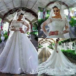 Lace Wedding Dresses Australia - 2018 A Line Wedding Dresses Bateau Neck Illusion Long Sleeves Lace Applique Beads Tiered Court Train Arabic Ball Gown Plus Size Bridal Gowns