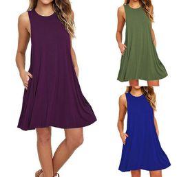 Xl Size Sale Dress NZ - Hot sale women's fashion sleeveless pocket casual tank plus size solid vest swing dress 9 colors S-XXL