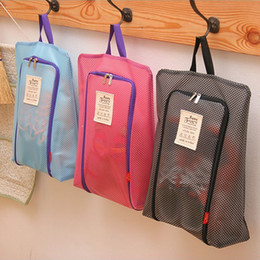 Solid colorS tote bagS online shopping - Waterproof Storage Bag hanging bag nylon mesh portable shoes Laundry Pouch Storage Case Hang Outddor Travel Tote Colors NNA618