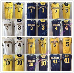 c74437a3c470 ... top quality chinese michigan wolverines college jersey basketball 1  duncan robinson 3 trey burke 4 chris