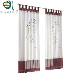Green Curtains For Bedroom UK - Pastoral Embroidered Finished Sheer Window Tulle Curtain For living room sitting room bedroom General Pleat High Quality