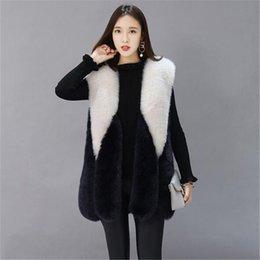 Wholesale fox lady vest for sale - Group buy Long Fur Vest Coat Women Autumn New Sleeveless Warm White Black Faux Fox Fur Vest Women Jacket Winter Fashion Ladies Fur Gilet