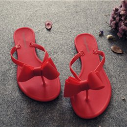 Butterfly jelly shoes online shopping - Eco Friendly Summer Cold Slippers Women s Beach Shoes Pure Color Flip Flops Jelly Shoes Butterfly Knot Flat with Outside Casual