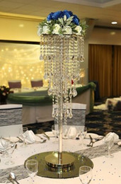 China NEW H80cm Tall Crystal Wedding Centerpiece Table Chandelier Flower Stand Wedding Props cheap tall table chandeliers suppliers
