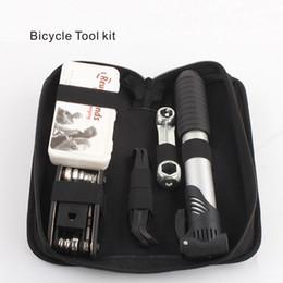 Sac à outils multi-outils 16 en 1, trousse à outils pour vélos comprenant un kit de perforation multi-outils, équipé d'une pompe gonflable pour vélo