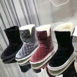 Toptan satış Yün İç Astar Boyutu 34-41 Kış Çizmeler Kadın Kızlar ayakkabı Izgara Dikiş Patchwork Kısa Çizmeler Sıcak Rahat Platformu Düz Ayakkabı