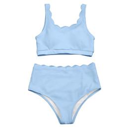 2c1d67c37371e Black high waisted Bikinis online shopping - New High Waisted Women  Swimsuit Scalloped Bralette Bikini Set