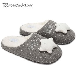 Chinese  New Cute Star Women Home Slippers Warm Winter House Shoes For Indoor Bedroom Cotton Shoes Girls Ladies Room Flats Christmas Gift manufacturers