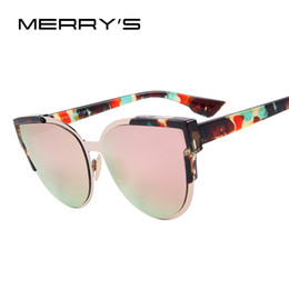 woman s designer sunglasses NZ - MERRY'S Fashion Women Sunglasses Cat Mirror Glasses Metal Cat Eye Sunglasses Women Brand Designer Sunglasses S'8392 D18101302