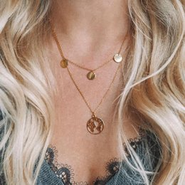 gold world charm 2019 - New Hot Sale World Map Necklace Earth Day Gift For Best Friends Wanderlust Pendants Personalized Fashion Outdoor Necklac