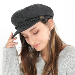 Foldable Flats Wholesale Australia - Vbiger Women Flat Top Hat Chic Beret Cap Foldable Newsboy Hat Classic Flat Top Peaked Cap Casual Outdoor