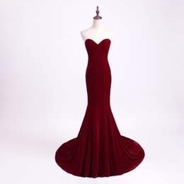 4614a9347ef Unique Designer Burgundy Mermaid Prom Dresses 2017 women Long Train  Flattered Fitted Red Wine Velvet Elegant Party Gowns robe de soiree