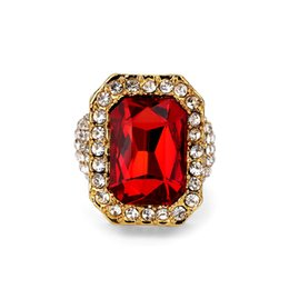 $enCountryForm.capitalKeyWord Australia - Newest Gold Ice Out Shiny Full Crystal Red Stone Gem Ring Hip Hop Bling Rock Punk Size For Men Women Tide Brand Rings Jewelry
