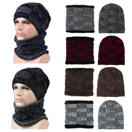 warming scarf Canada - 2018 New Brand Solid Color Knit Beanies Hat Scarf Plus Velvet Winter Hat Man Woman Warm Thicken Hedging Cap Ski Soft Scarves