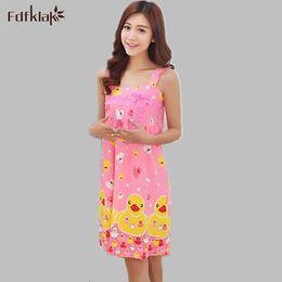 3325e804c Cute cartoon nightgowns for women sleeveless women's sleepwear summer dress  lounge nightwear nightdress female sleepshirts Q621