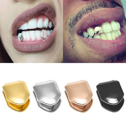 Großhandel Zahnspange Single Metal Zahn Grillz Gold Silber Farbe Dental Grillz Top Bottom Hiphop Zähne Caps Körper Schmuck für Frauen Männer Mode Vampire