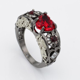 Band ruBies ring online shopping - designer jewelry rings for women wedding rings CZ hollow out heart ruby rings band to bridal hot fashion free of shipping