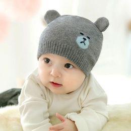 a610ec14b3752 2018 new fashion Cute Newborn Baby winter warm Crochet Knit Christmas  Beanie Hat Girl Boy New lovely knitted bear Beanies