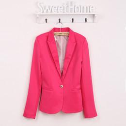 4937133dde432 Chaqueta de la marca de primavera de las mujeres Chaqueta de algodón  Chaquetas básicas Color del caramelo Manga larga Traje delgado Blazer Mujer  traje ...