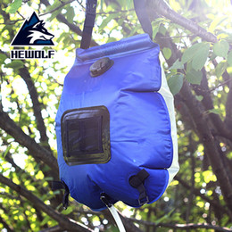 heated camp shower 2019 - Hewolf 20L Outdoor Solar Energy Heated PVC Bathing Water Bag Foldable Outdoor Travel Camping Shower With Thermometer dis