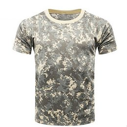 Discount combat camo shirt - New Camouflage T-shirt Men Breathable Army Tactical Combat T Shirt  Dry Camo Camp Tees ACU Green