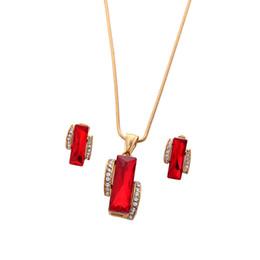 Pendant Rectangle Stone Australia - Women Retro Rectangle Red Ruby Big Stone Stud Earring Jewelry Set