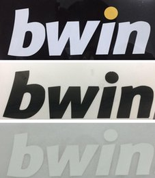 soccer badges patches Canada - Bwin printing logo on soccer jersey Real Madrid club sponsor printed stickers white impressed plastic advertising badges stamping patches