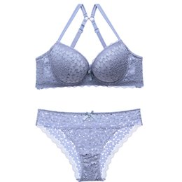 6048f0264f ABC Cup Elegant Luxury Romantic Bra Set For Women Floral Lace Push Up Sexy  Underwear Sets 3 Color Wireless Bra And Panty Set