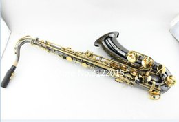 Discount brass black saxophones - Free Shipping MARGEWATE Professional Bb Tenor Saxophone B-flat Black Nickel Gold Plated Brass Instrument For Students Wi