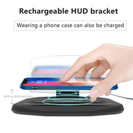 Discount head hud - HUD Car Phone GPS Display Wireless Charger Auto Air Vent Holder for iPhone Smartphone Stand Holder Wireless Charging Pad