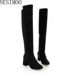 19bc11343120 NESIMOO 2019 Women WinterShoes Over The Knee High Boots Zipper Platform Square  High Heel Pointed Toe Flock Size 32-43