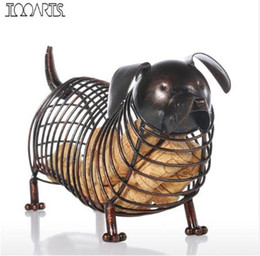 art craft irons NZ - Tooarts Metal Animal Figurines Dachshund Wine Cork Container Modern Artificial Iron Craft Home Decoration Accessories Gift