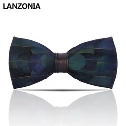 $enCountryForm.capitalKeyWord NZ - Lanzonia Feather Blue Mens Bow Tie Male Handmade Novelty Wedding Bowtie Fashion Designer Unique Neckwear Party Butterfly Tie