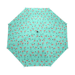 China Windproof Sunny Rainy Travel Full Automatic Umbrella Women Flamingo Paern 3 Folding Rain Gear Portable Parasol cheap sky gear suppliers