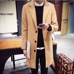 Discount asian winter coats - Korean Style Trench Coat Men Slim Fit Men's Woolen Long Overcoat Winter Coat Men Navy Tablecloth Gentlemen Trench A