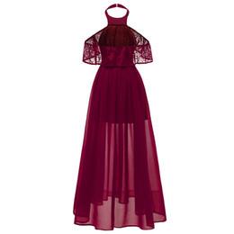 Polyester Chiffon Wedding Dress UK - Sexy Halter Neck Burgundy Lace Party Dress Butterfly Sleeve Chiffon A-line Vestidos Wedding Party Autumn Maxi Dresses