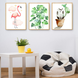 Art Canvas Prints Australia - Modern Watercolor Hd Art Prints Posters Abstract Wall Picture Flamingo Cats Cactus Plants Canvas Painting Living Room Home Decor
