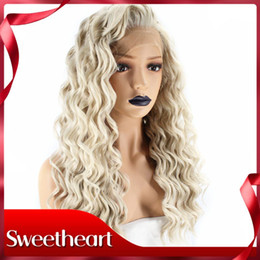 $enCountryForm.capitalKeyWord Australia - New Style High Temperature Fiber Hair Free Part Long Deep Wave Hair Platinum Blonde Synthetic Lace Front Wigs For White Women 180% Density