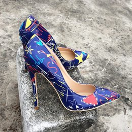 $enCountryForm.capitalKeyWord Canada - Free shipping fashion women pumps Blue Graffiti Colorful Women Pumps Sexy Stiletto high heels Spring Wedding Party Women Shoes